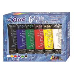 Akrilne boje El Greco - set 6 x 75 ml