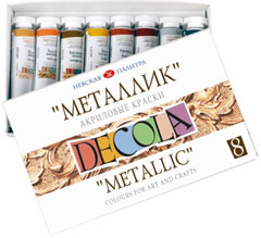 Culori acrilice metallic DECOLA 8x18 ml