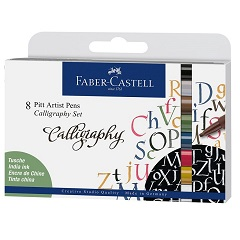 Stilouri caligrafice Faber-Castell Pitt / set din 8 piese